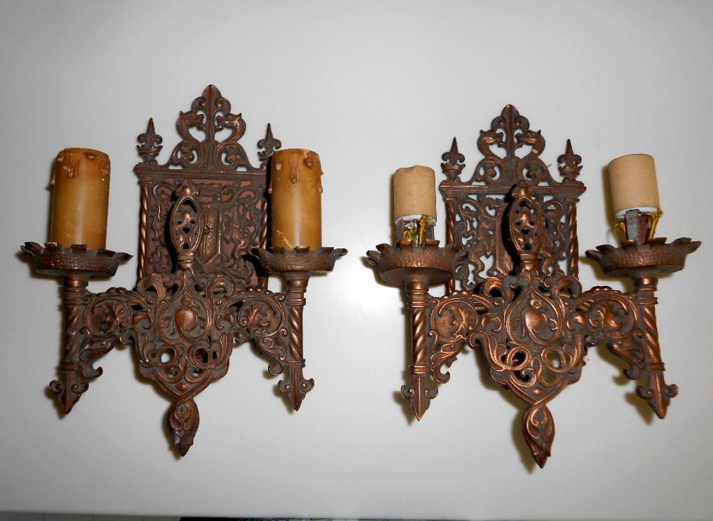 Pair Antique MOE BRIDGES Patina Bronze GOTHIC WALL SCONCE Birds Gargoyle Dragon eBay