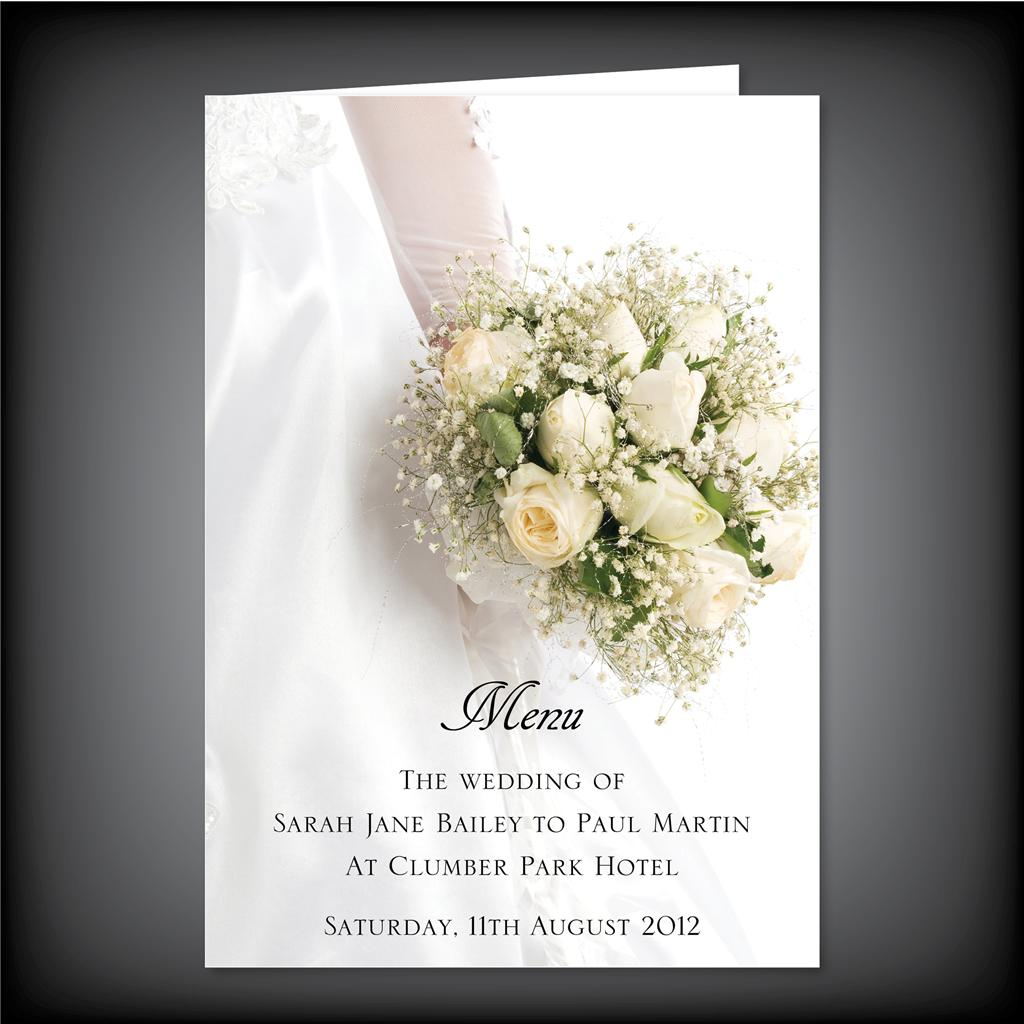 Luxury Personalised Wedding Menus A4 Folded to A5 Four Folded Pink ...