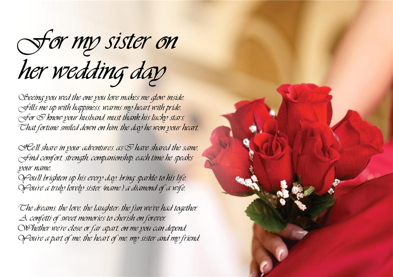 Special Gift For Brother On His Wedding Day : ... Poem Poetry for my Sister Bride on her Wedding Day LAMINATED