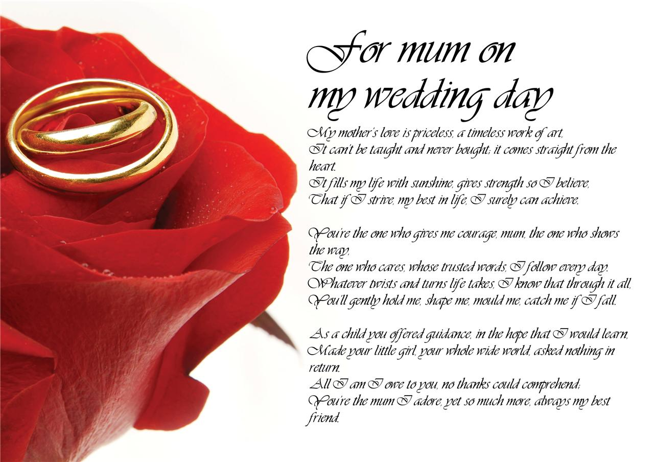 Personalised Poem Poetry For Mum Mother Of Bride On Wedding Day From Bride Groom