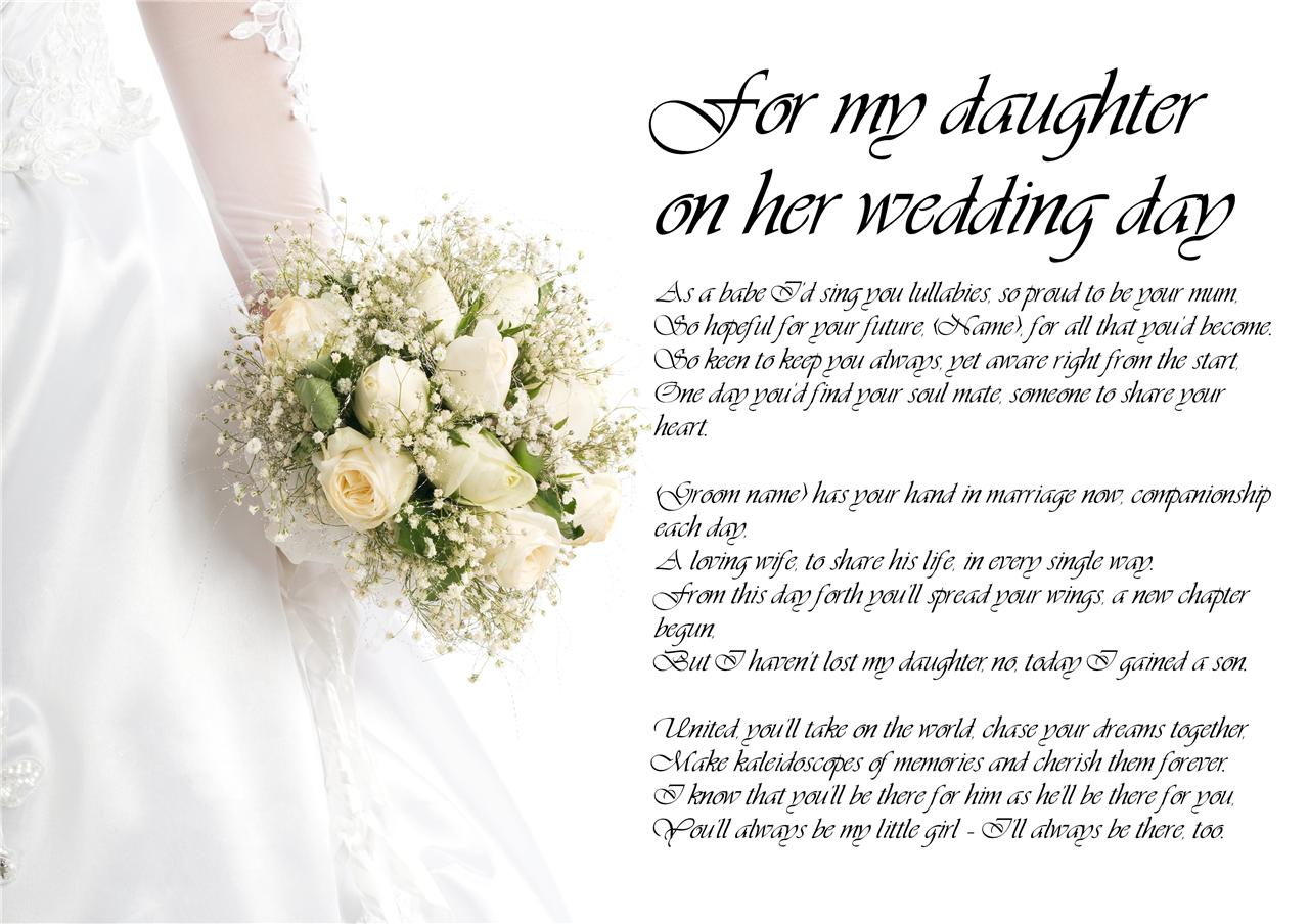 Gift Ideas For My Daughter In Law On Her Wedding Day : ... Poetry for Bride Daughter from Parents Wedding Day LAMINATED eBay
