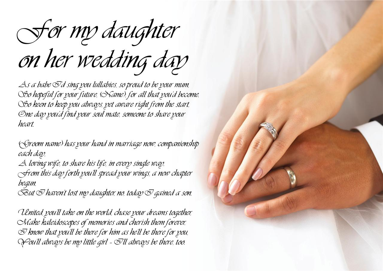 Gift For My Mom On Her Wedding Day : ... Poetry for Bride Daughter from Parents Wedding Day LAMINATED eBay