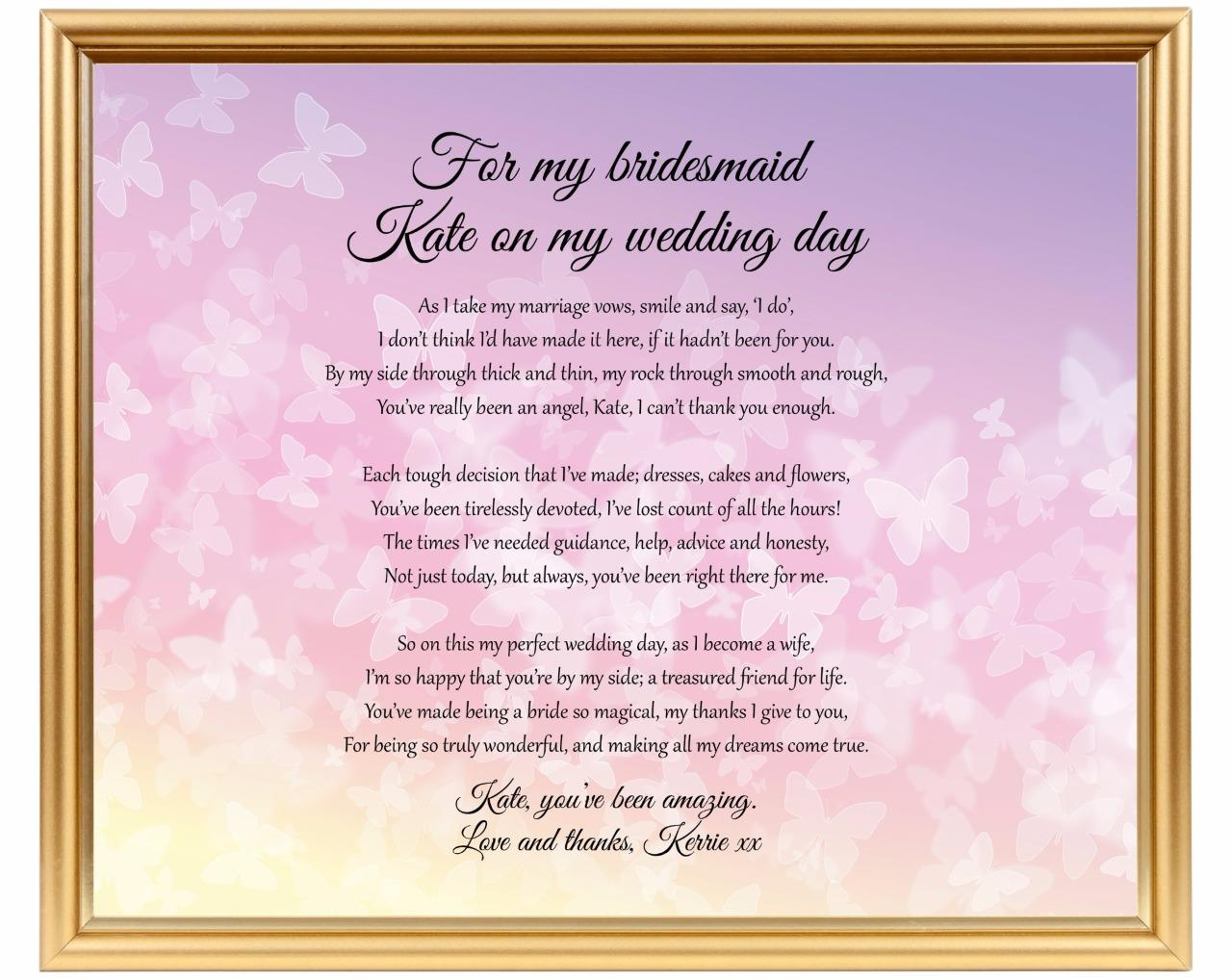 Wedding Gift Check Payable To : ... you for being my BridesmaidWedding gift poem for Chief Bridesmaid
