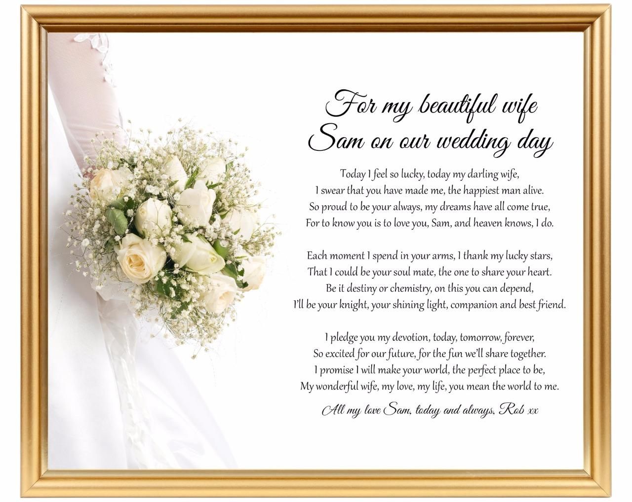 Wedding gift for wife - Groom to bride gift - Personalised keepsake ...