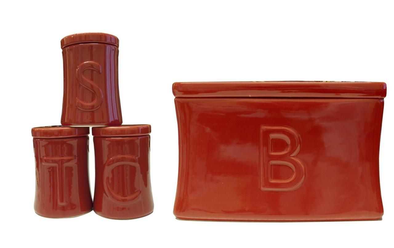 Ceramic Tea Coffee Sugar Utensil Jar Set Amp Bread Bin In