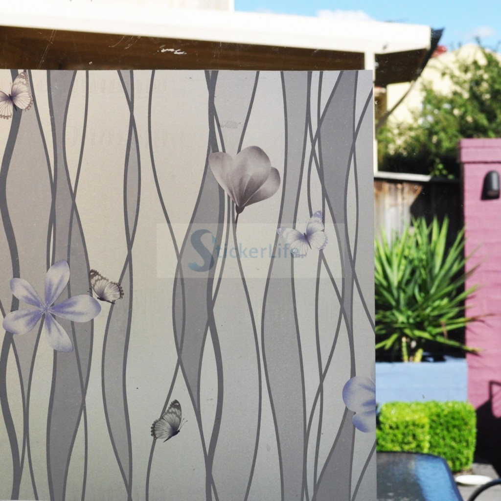 90cm x 1m purple flower butterfly privacy frosted for Window frosting
