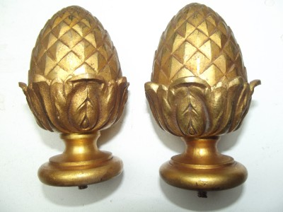 Pair Antique French Bronze Ormulu Pineapple Curtain Pole Finials Newel Post Etc