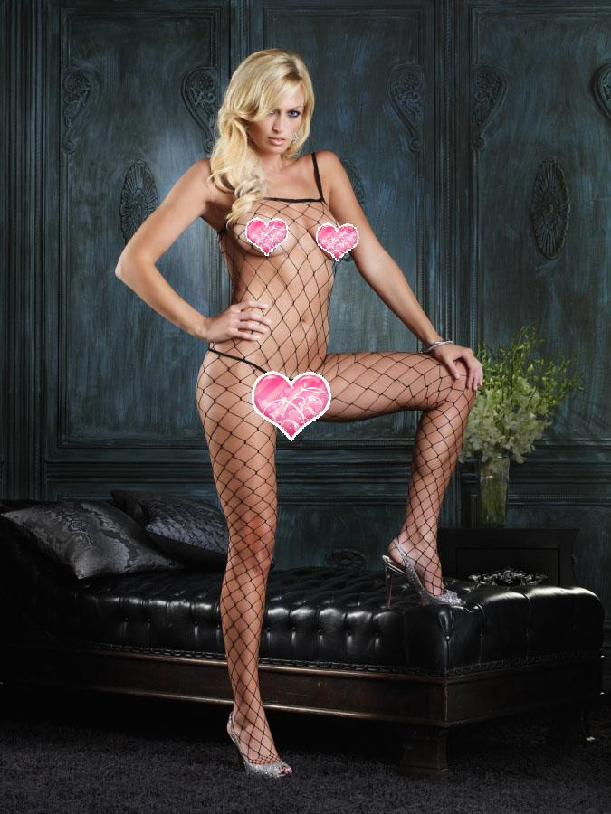Sexy-Harness-Lingerie-Fishnet-Halter-Bodystocking-Open-Crotch-One-Size-3-Option