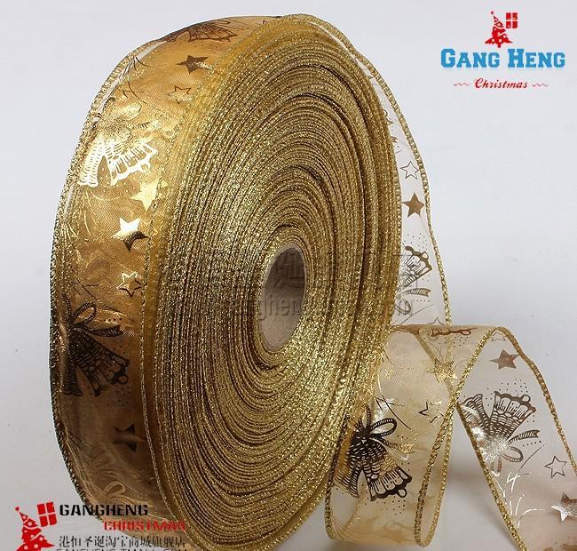 Festival-Dekoration-Zubehoer-golden-bronzierens-Weihnachtsbaumschmuck-Baender