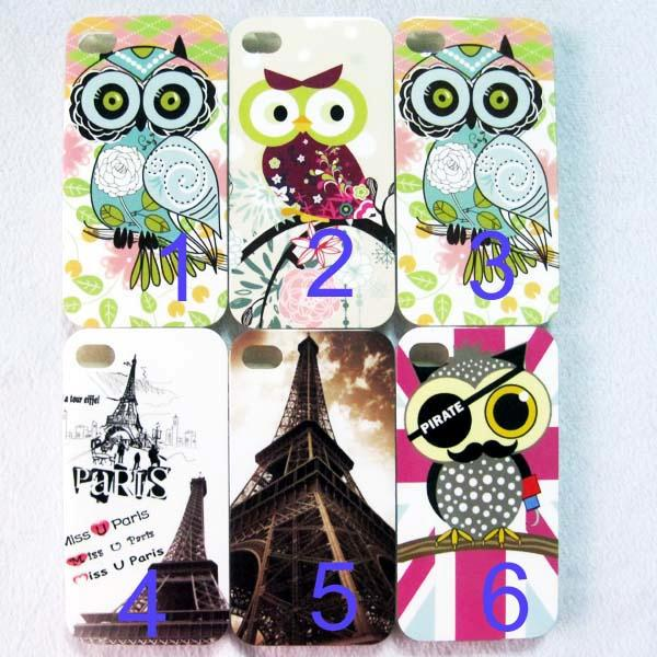 1 x Cute OWL Eiffel Tower TPU Back Case Skin for iPhone 4G 4S 5 5G 5S