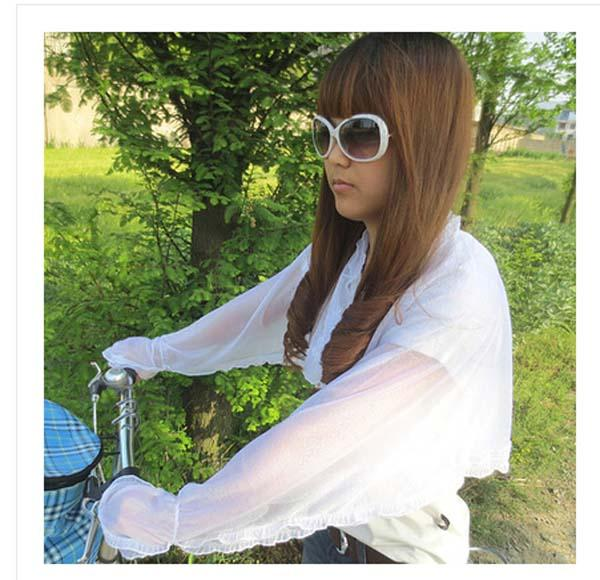 1 x Women summer sun protection clothing anti-UV ultraviolet yarn shawl cuff