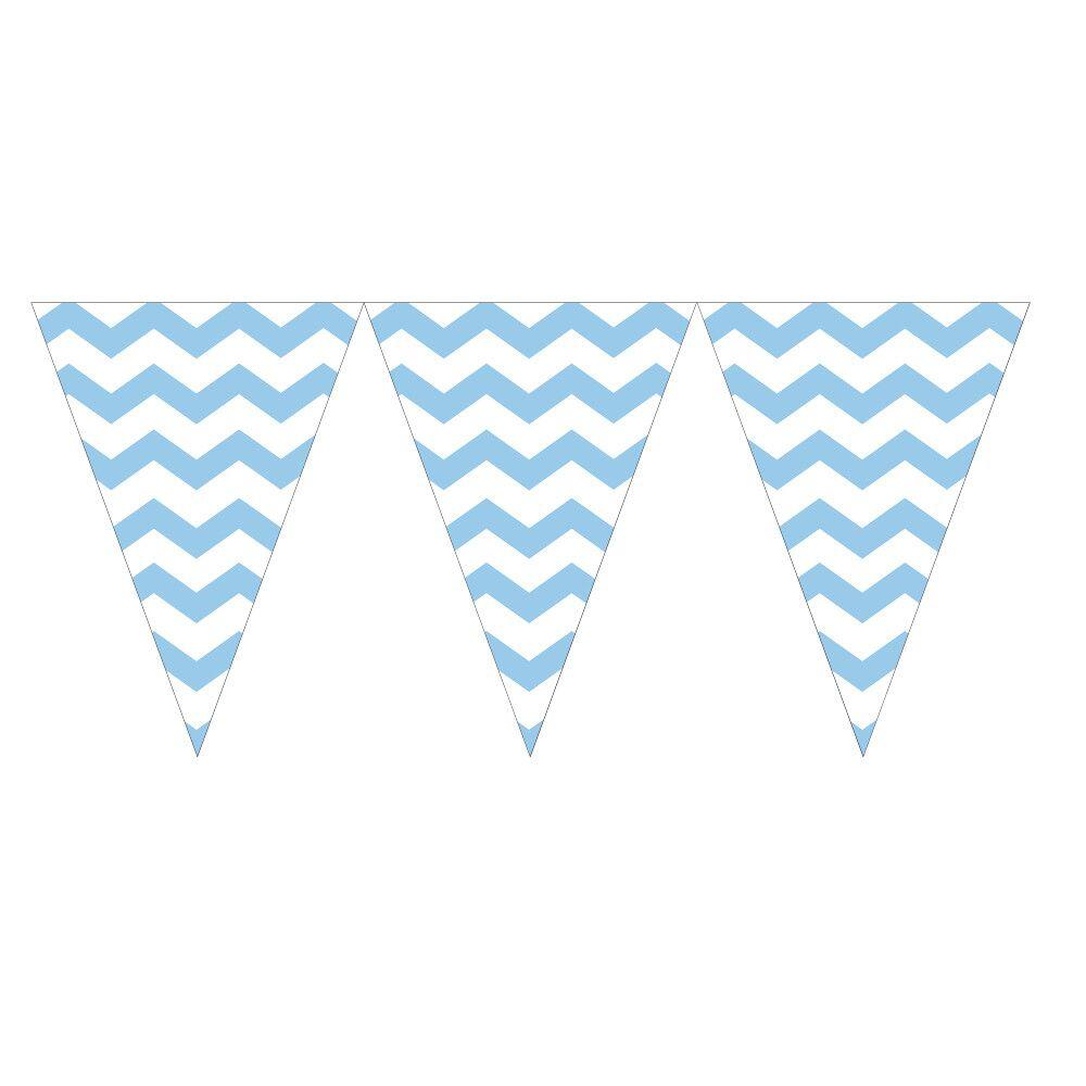 CHEVRON STRIPE FLAG BANNER 9 FT (2.74 MTR) 8 COLOURS PARTY DECORATION BUNTING