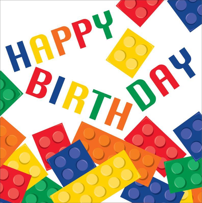 Assez NAPKINS 33CM 2 PLY - BUILDING BLOCK LEGO PARTY HAPPY BIRTHDAY  QZ49