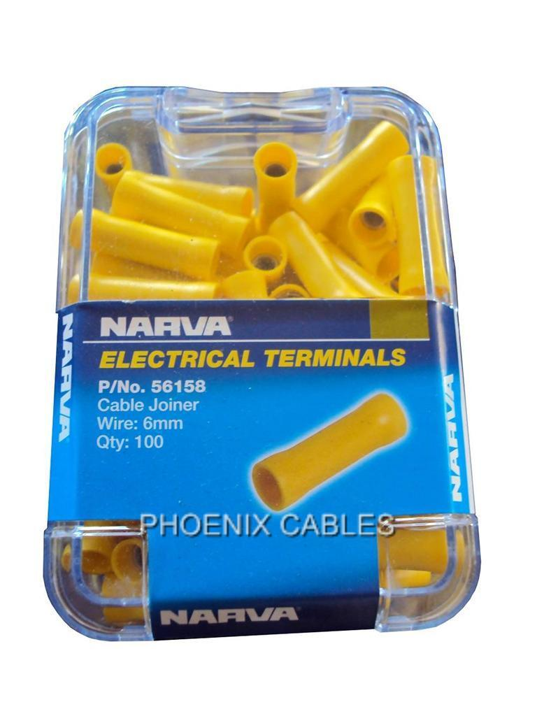 NARVA-CRIMP-TERMINALS-56158-YELLOW-CABLE-JOINERS-BUTT-CONNECTOR-100-PACK