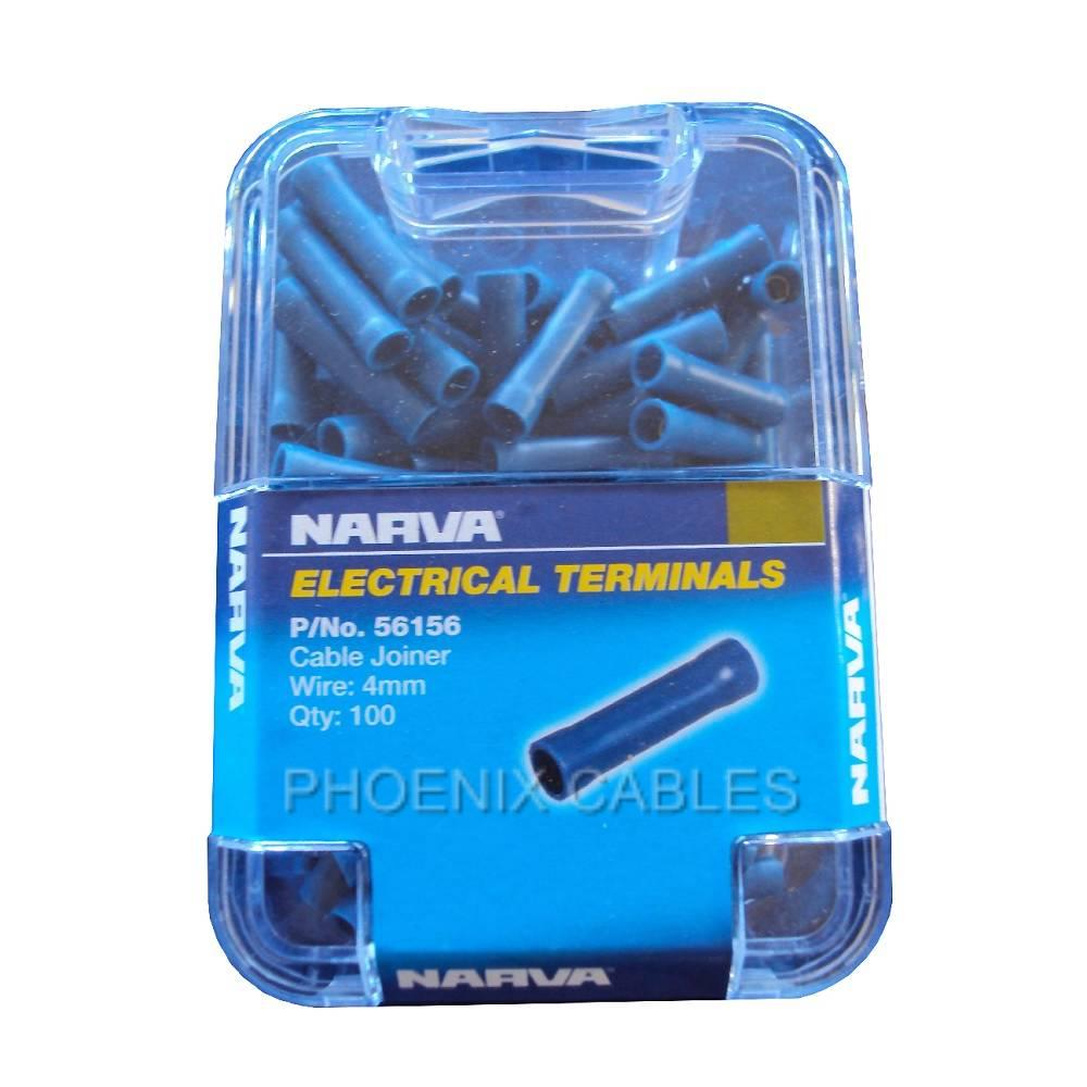 NARVA-CRIMP-TERMINALS-56156-BLUE-CABLE-JOINERS-BUTT-CONNECTOR-100-PACK-4MM-CABLE