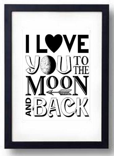 i love you to the moon and back kids wall art print home. Black Bedroom Furniture Sets. Home Design Ideas