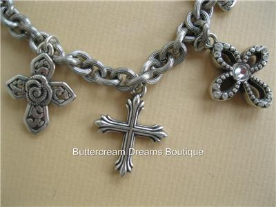 Details about Brighton Bracelet Faithful Cross Block Charm Crystals