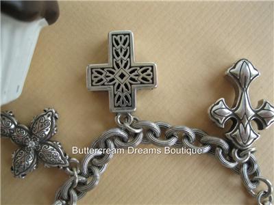 Brighton Bracelet Faithful Cross Block Charm Crystals