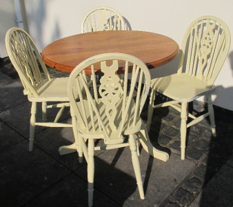 Shabby Chic Vintage Pine Dining Table Painted Laura Ashley Creamware Chairs S