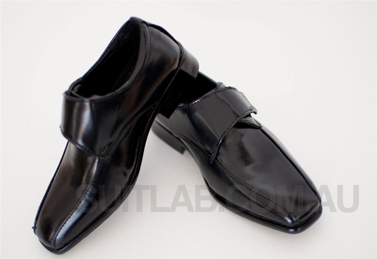 boys black formal wedding dress shoes velcro ages 2