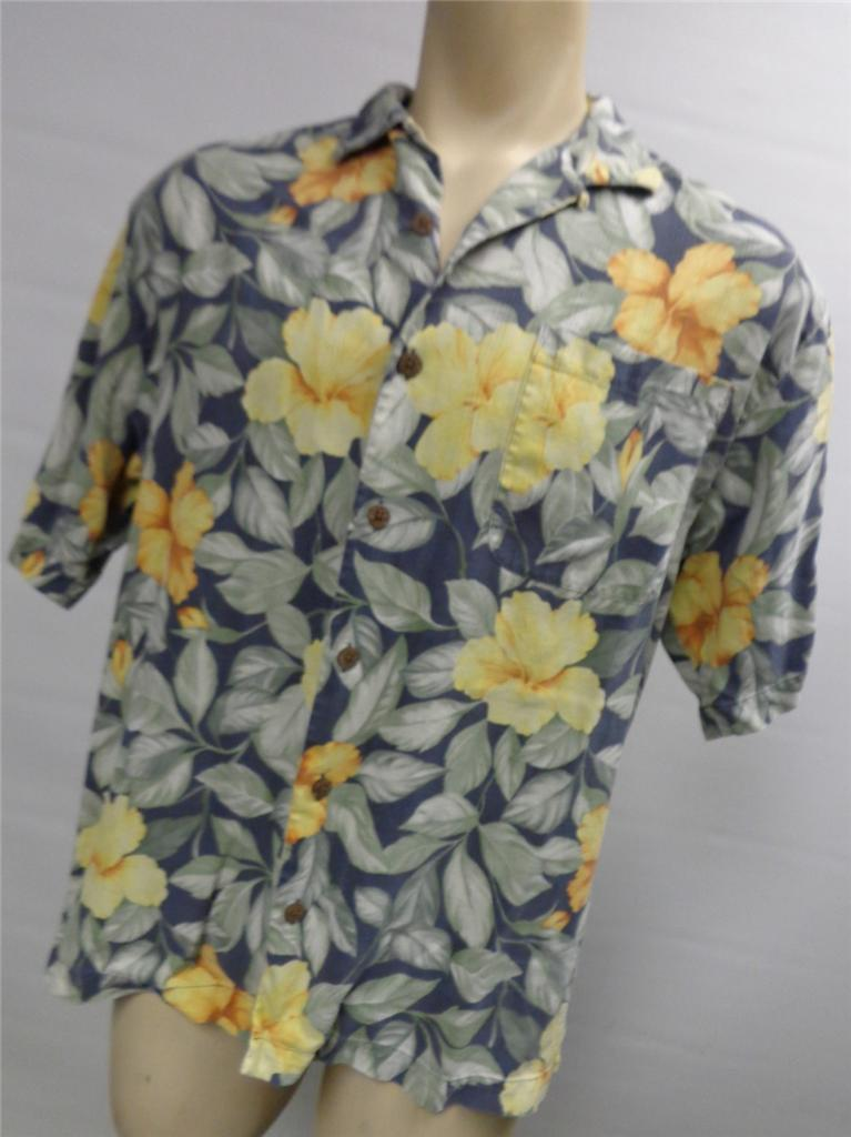 mens-TOMMY-BAHAMA-FLORAL-SILK-S-S-BUTTON-UP-SHIRT-LARGE-HAWAIIAN-camp-CLEAN