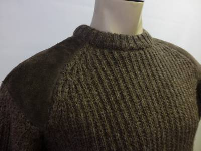 Black Sheep 'Son of a Gun' Chunky Knit Wool Sweater. % Pure Natural Oiled Wool - Resistant to Dirt. Chunky Knit Ribbed Crew Neck. Washable Suede Elbow & Shoulder Patches.