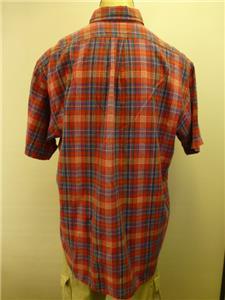 Ralph lauren polo blake red plaid long sleeve button up dress shirt mens sz xl ebay for Mens red button up dress shirt
