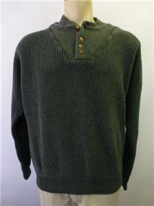 Mens green cabelas outfitter knit henley 1 2 button for Mens xl tall henley shirts