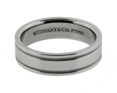 Mens tiffany co milgrain platinum milgrain wedding band for Tiffany mens wedding ring