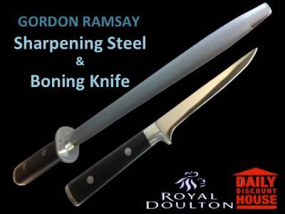16cm boning knife sharpening steel combo by gordon ramsay and royal doulton ebay. Black Bedroom Furniture Sets. Home Design Ideas