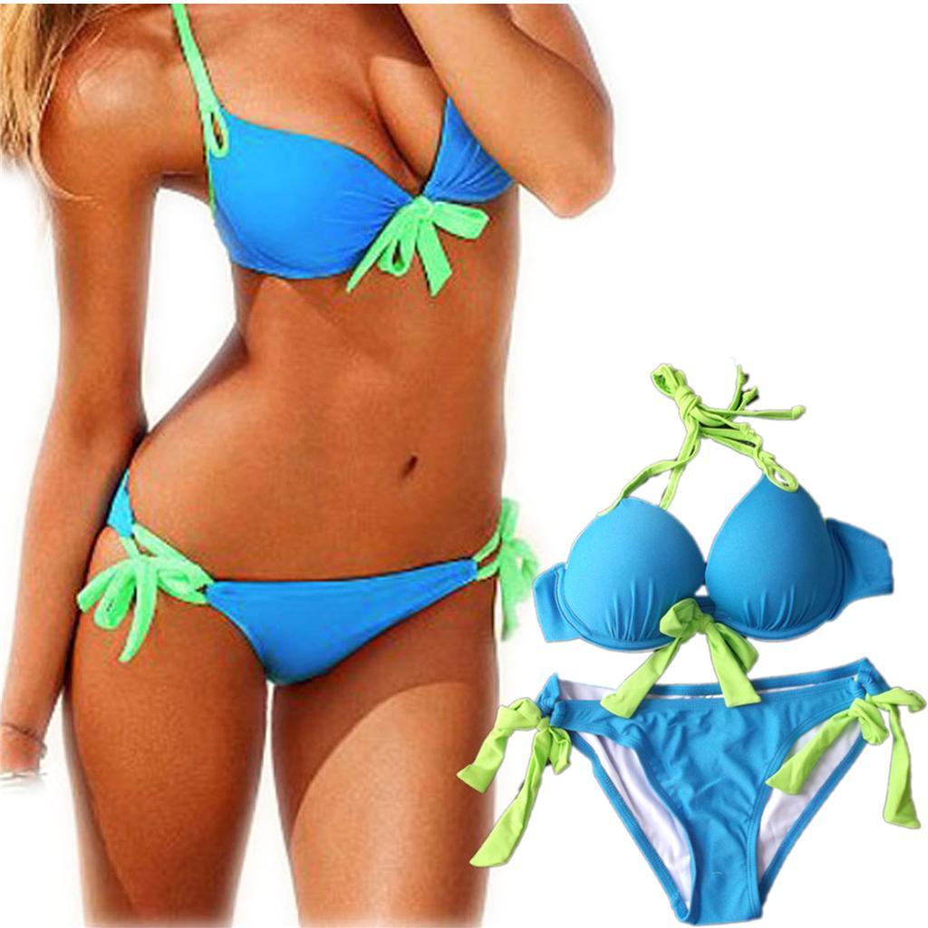 New-Swimsuit-Push-Up-Bikini-Halter-Top-Side-Tie-Bottom-Leopard-Swimwear-SML