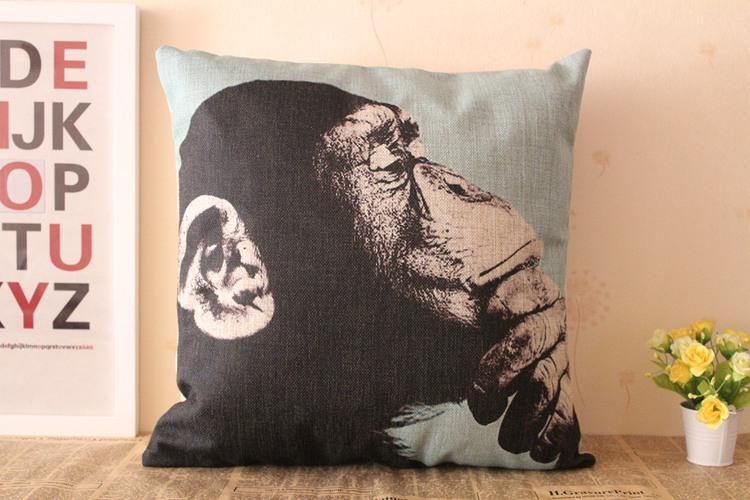 Pink Linen Throw Pillow : Chimpanzee Monkey Black-Red-Blue-Pink Linen Cushion Cover Throw Pillow Case eBay