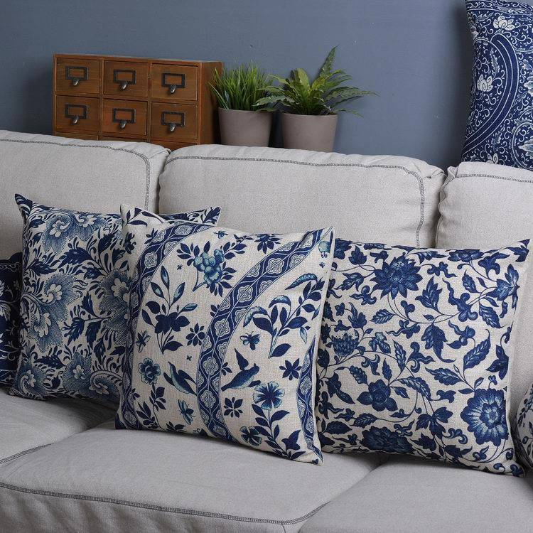Oriental Throw Pillow Covers : Oriental Blue Geometric Linen Cotton Cushion Cover Throw Pillow Case 45x45 eBay