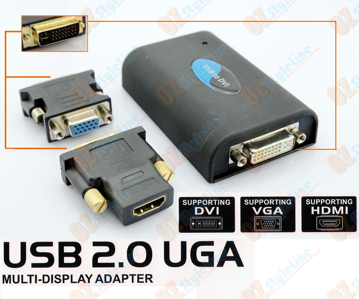 USB 2.0 TO DVI HDMI VGA MULTI DISPLAY GRAPHIC ADAPTER