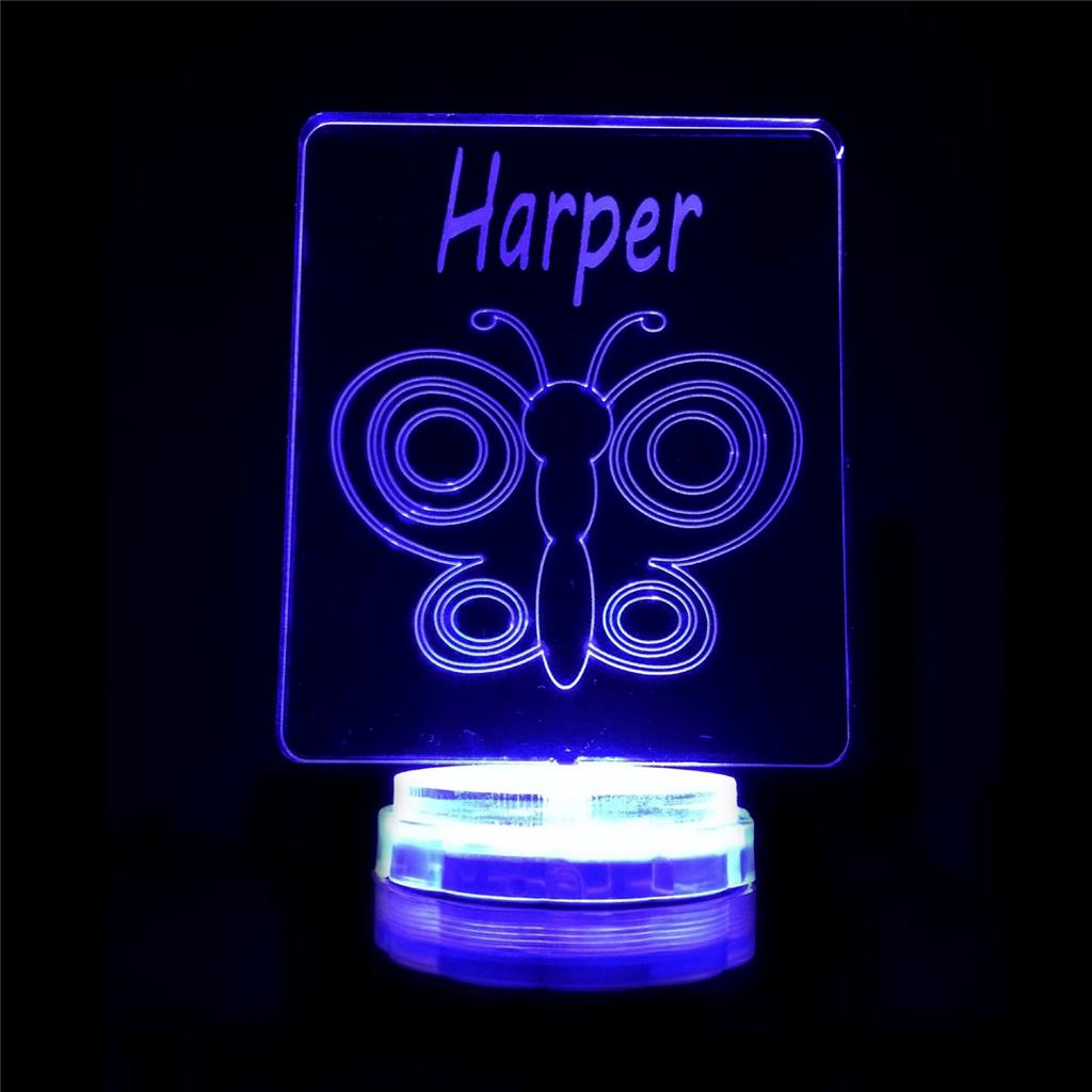 Butterfly Personalised Name Night Light Novelty Colour