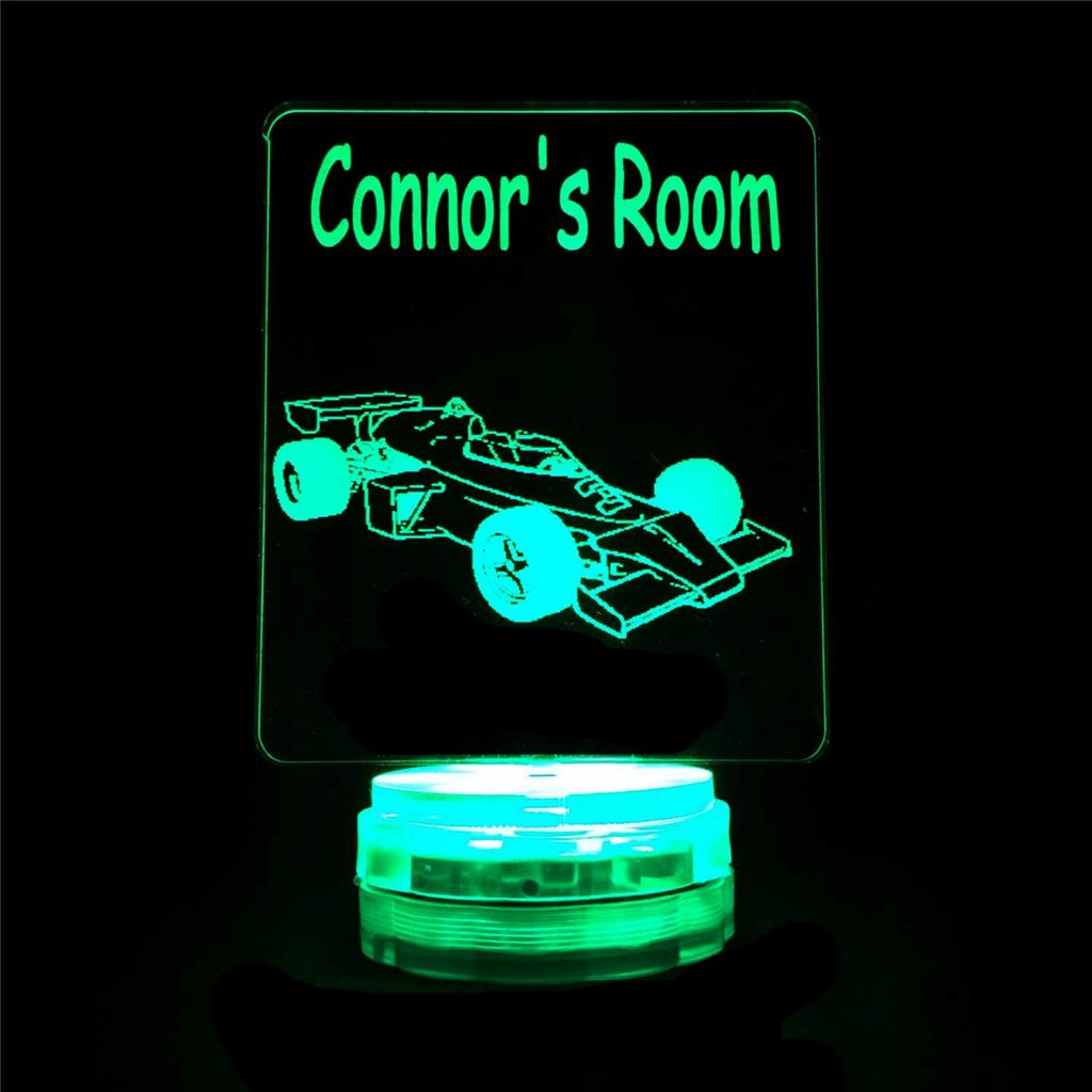 Race Car F1 Personalised Name Night Light Novelty Colour