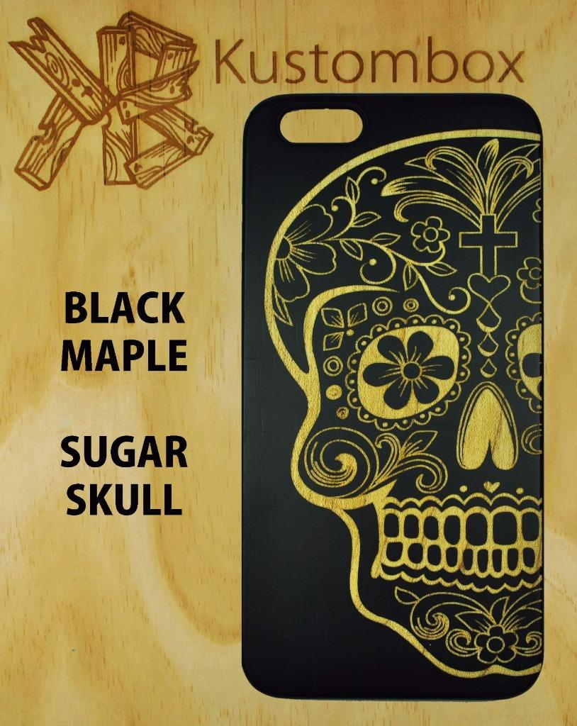 CANDY-SKULL-DAY-OF-DEAD-BLACK-MAPLE-TIMBER-WOOD-iPHONE-5-6-6-PLUS-SE-CASE