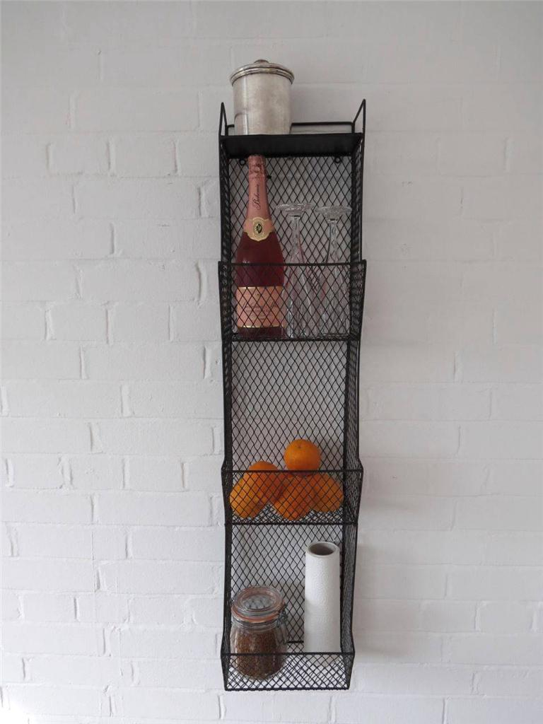 Kitchen metal wall wire rack storage shelf black industrial large wall shelving - Wall metal shelf ...