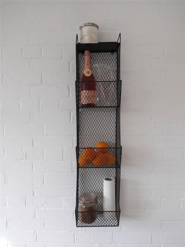 Kitchen storage metal wire wall rack shelving display for Kitchen display wall