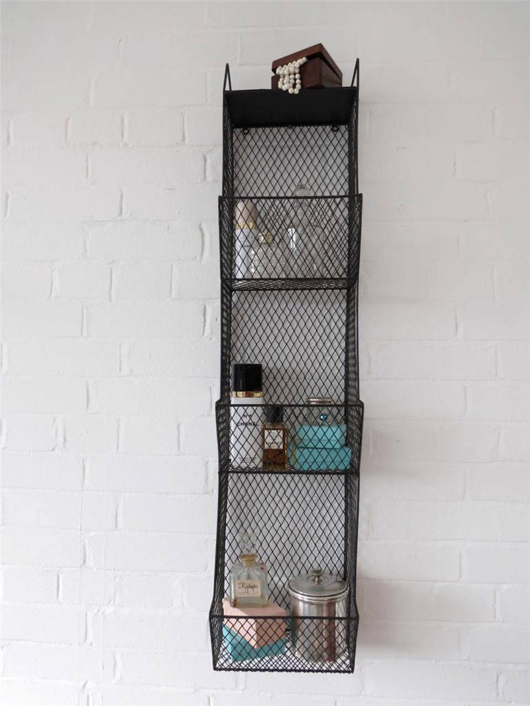 Bathroom metal wall wire rack storage shelf black for Metal bathroom shelving unit