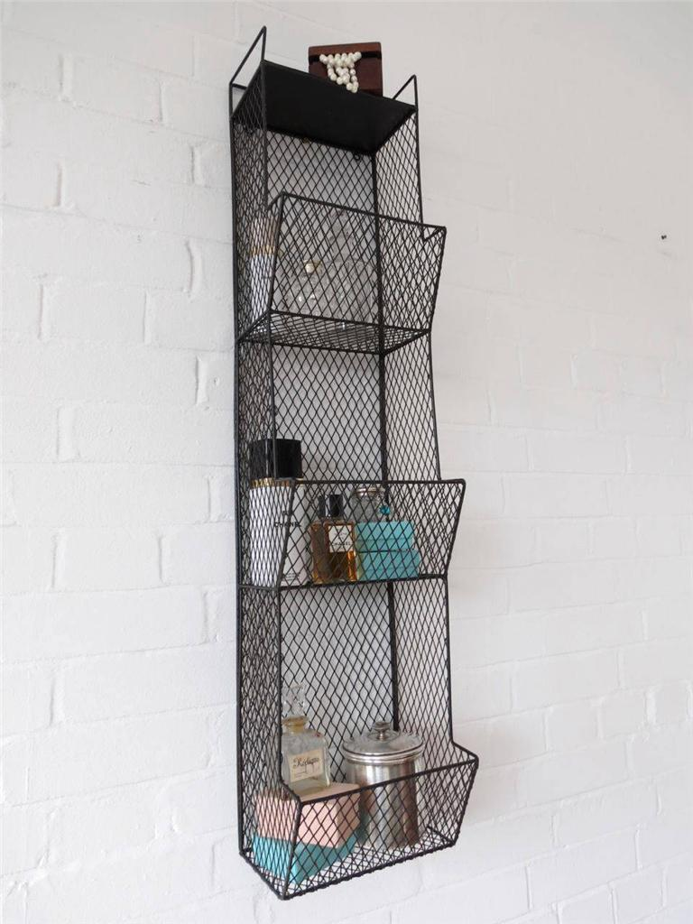 Bathroom Metal Wall Wire Rack Storage Shelf Black
