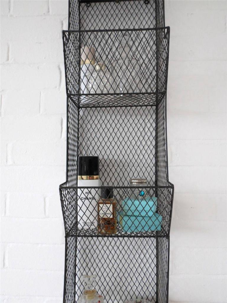 Bathroom wall rack metal wire shelf shelving ebay - Wall metal shelf ...