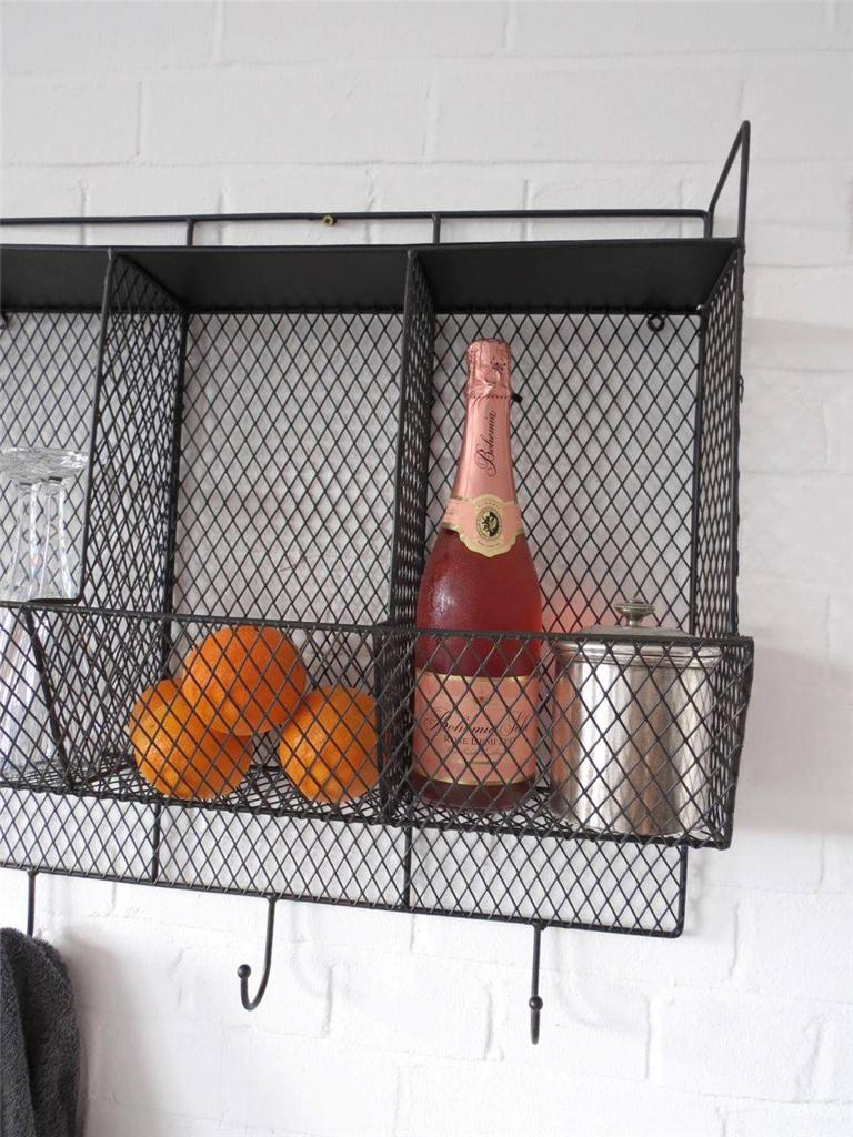 Kitchen metal wire wall rack shelving display shelf industrial storage black ebay - Wall metal shelf ...