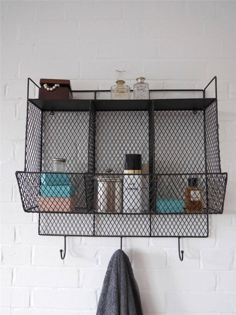 Bathroom metal wire wall rack shelving display shelf industrial storage black ebay - Wall metal shelf ...