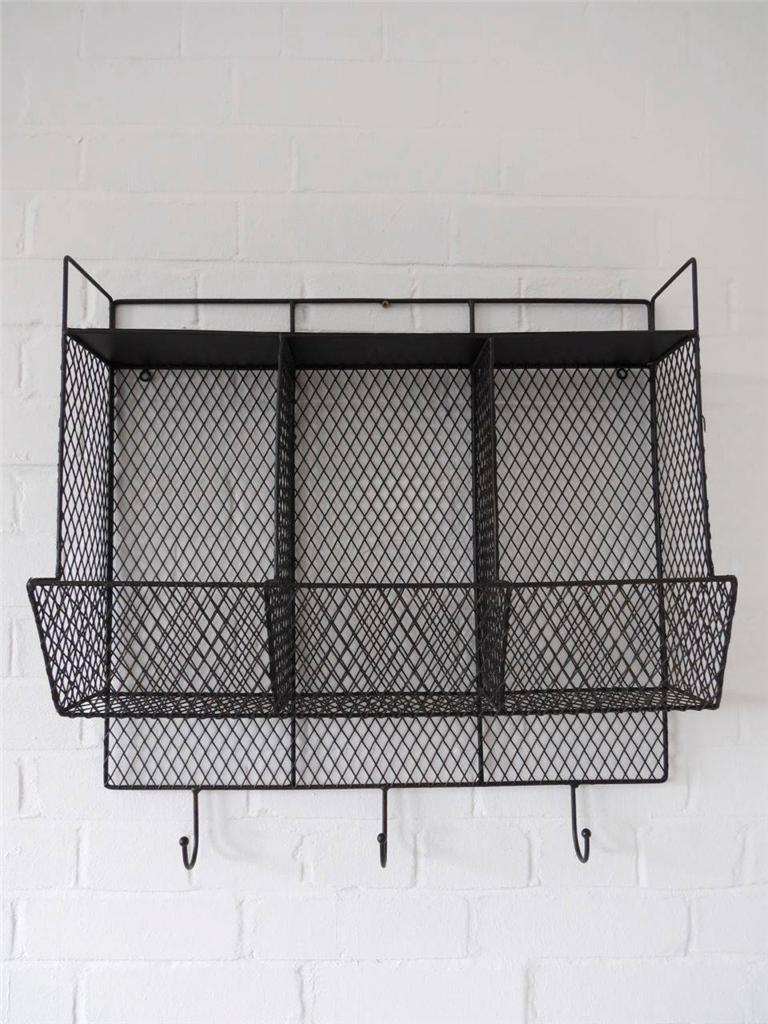 Kitchen storage metal wire wall rack shelving display shelf industrial black ebay - Wall metal shelf ...
