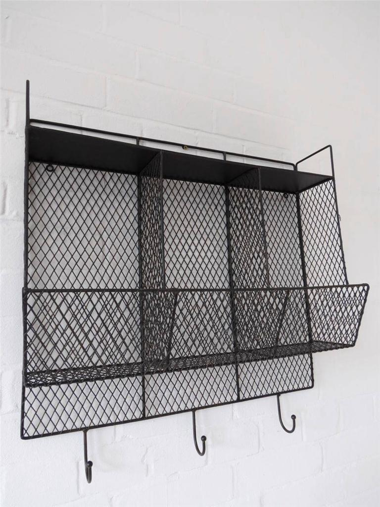 Bathroom metal wire wall rack shelving display shelf industrial storage black - Wall metal shelf ...