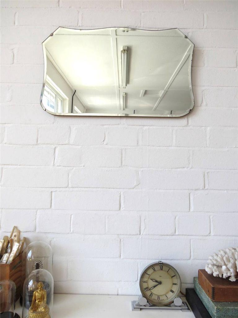 Vintage Bevelled Edge Wall Mirror Original Art Deco Bevel Edge Mirror