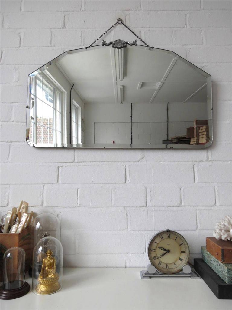 Vintage Large Bevelled Edge Wall Mirror Art Deco Bevel Edge Mirror Chrome Detail
