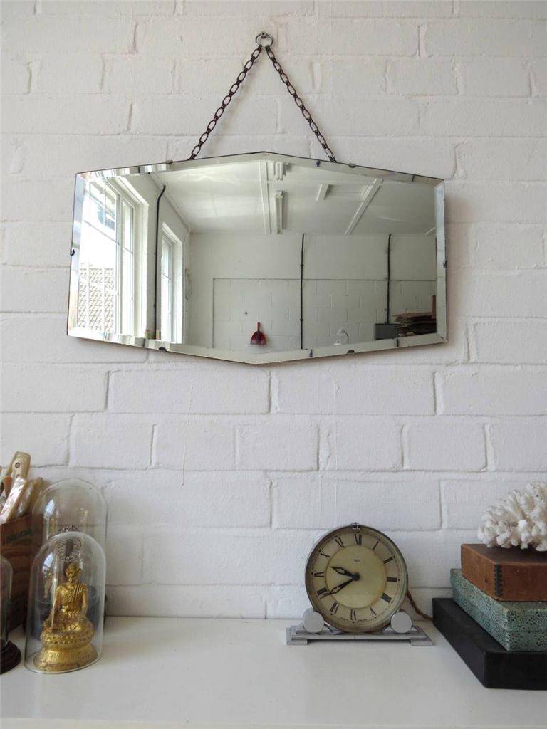 Vintage Bevelled Edge Wall Mirror Art Deco Bevel Edge Mirror