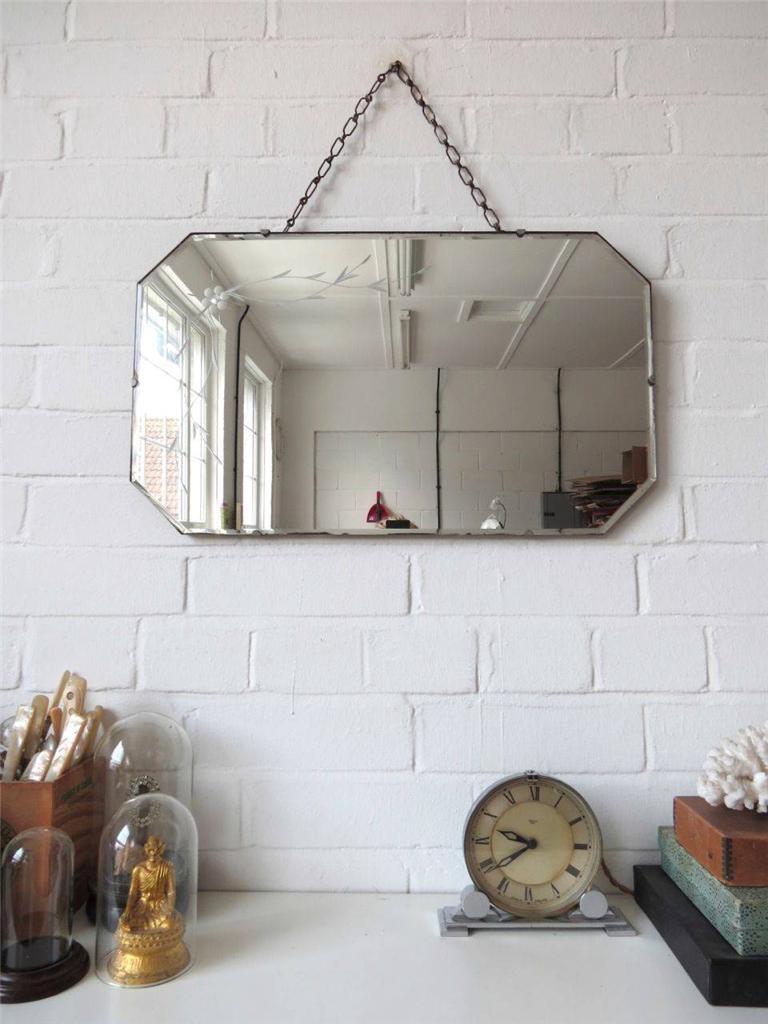 Vintage Bevelled Edge Wall Mirror Art Deco Bevel Edge Mirror Engraved Flowers
